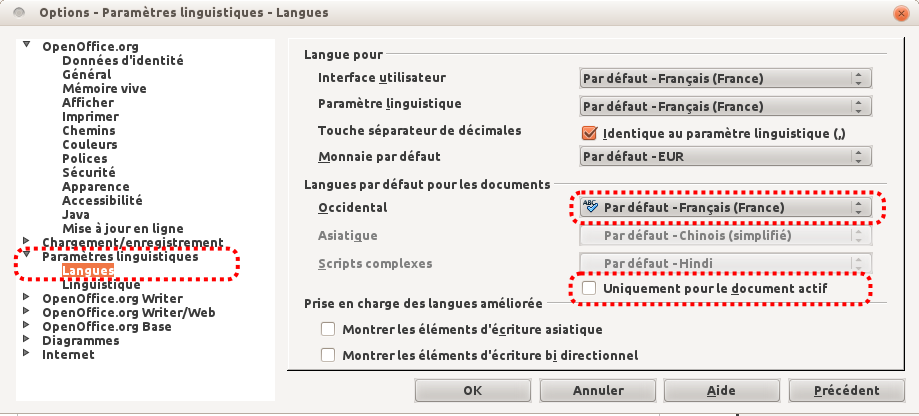 langue du document  openoffice 3 4 et libreoffice 4 0 4
