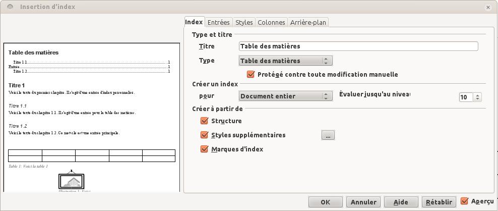 Table des matières [OpenOffice 3.4 et LibreOffice 4.0.4]